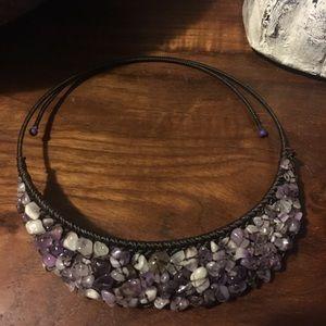 Stunning stone purple choker like necklace